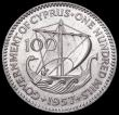 London Coins : A164 : Lot 338 : Cyprus 100 Mils 1957 KM#37 UNC with minor contact marks, Note: of the 500,000 minted, 490,000 were m...