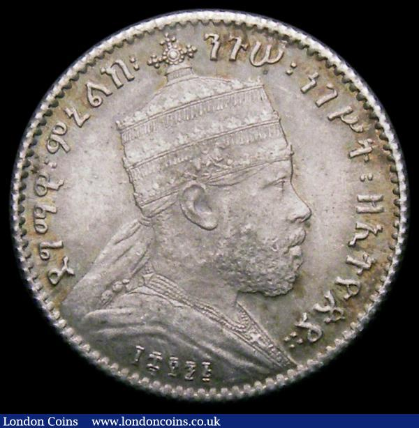 Ethiopia Gersh EE1891 (1899) KM#12 UNC and attractively toned : World Coins : Auction 164 : Lot 357