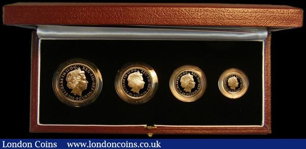 Britannia Gold Proof Set 2007 the 4-coin set comprising £100 One Ounce, £50 Half Ounce, £25 Quarter Ounce and £10 One Tenth Ounce S.PGB29 nFDC-FDC the £10 One Tenth Ounce with very minor toning, in the Royal Mint box of issue with certificate : English Cased : Auction 164 : Lot 37