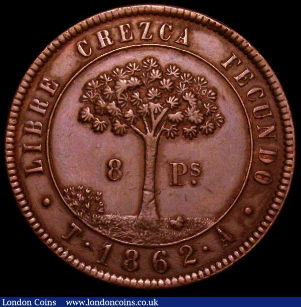 Honduras 8 Pesos 1862 T-A KM#27 28.35 grammes, GVF and scarce : World Coins : Auction 164 : Lot 390