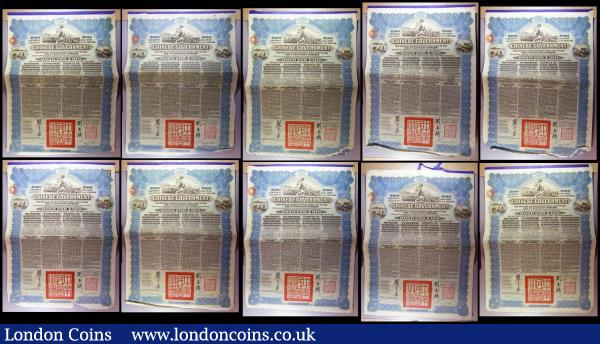 China, Chinese Government 1913 Reorganisation Gold Loan, 10 x bonds for £100 Hong Kong & Shanghai Bank issues, vignettes of Mercury and Chinese scenes, black & blue, with coupons. Generally Fine to NVF with pencil annotations : Bonds and Shares : Auction 164 : Lot 4