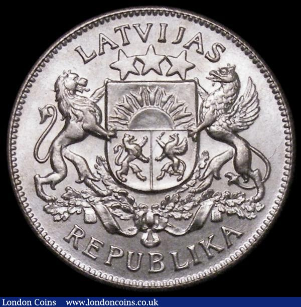 Latvia 2 Lati 1925 lustrous and choice Unc KM8 : World Coins : Auction 164 : Lot 428