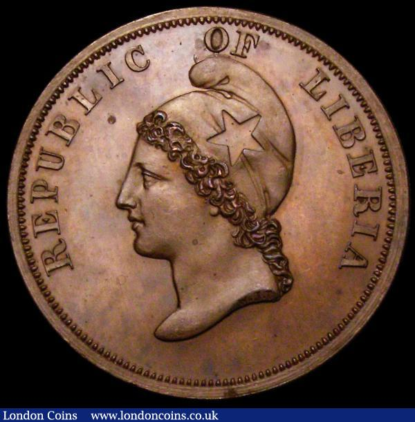 Liberia Two Cents 1847 Copper Pattern KM#Pn2 Obverse: Bust left with cap, Reverse Palm Tree with value above and date in exergue below, UNC and nicely toned, the obverse with small tone spots : World Coins : Auction 164 : Lot 430