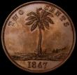 London Coins : A164 : Lot 430 : Liberia Two Cents 1847 Copper Pattern KM#Pn2 Obverse: Bust left with cap, Reverse Palm Tree with val...