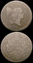 London Coins : A164 : Lot 531 : USA (2) One Cent 1821 Breen 1814 VG, Half Cent 1797 Fair, the exact type not visible
