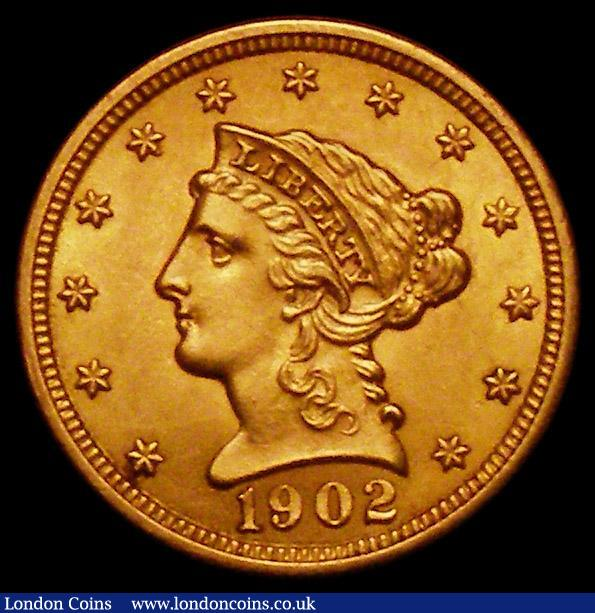 USA 2 1/2 Dollars Gold 1902 Breen 6323 UNC or near so with some contact marks : World Coins : Auction 164 : Lot 536