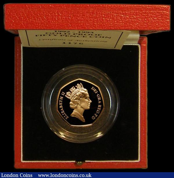 Fifty Pence 1992-3 EU Presidency Gold Proof S.H5 FDC in the Royal Mint box of issue with certificate : English Cased : Auction 164 : Lot 55