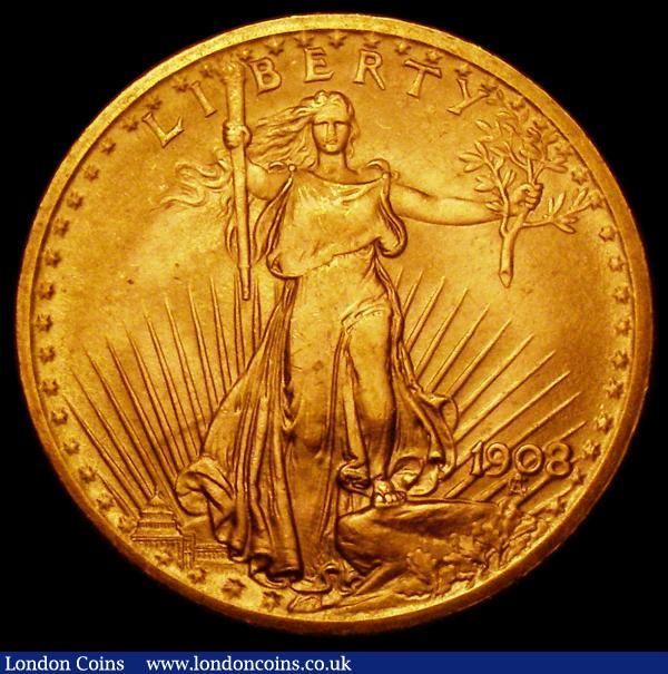 USA Twenty Dollars Gold 1908 No Motto, Short Rays, Breen 7364 About EF/GEF : World Coins : Auction 164 : Lot 566