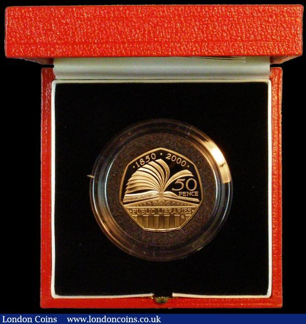 Fifty Pence 2000 150 Years of Public Libraries Gold Proof S.H11 nFDC in the Royal Mint box of issue with certificate number 28 : English Cased : Auction 164 : Lot 58