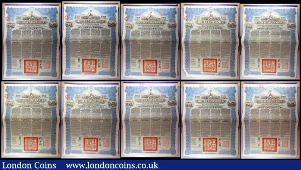 China, Chinese Government 1913 Reorganisation Gold Loan, 10 x bonds for £100 Hong Kong & Shanghai Bank issues, vignettes of Mercury and Chinese scenes, black & blue, with coupons. Generally Fine to NVF with pencil annotations : Bonds and Shares : Auction 164 : Lot 6