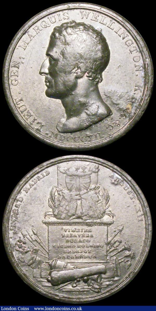 The Duke of Wellington (2) British Army Enters Madrid 1812 45mm diameter in iron, Eimer 1025 by T.Wyon Snr./P.Wyon Obverse: bust left, LIEUT. GEN. MARQUIS. WELLINGTON, K.B &C. &C. MDCCCXII Reverse: Garlanded shields of Britain, Spain and Portugal upon an plinth, inscribed VIMEIRA TALAVERA BUSACO CIUDAD RODRIGO BADAJOZ SALAMANCA amidst military trophies, ENTER'D MADRID AUGUST XII  Fine with some corrosion. Death of the Duke of Wellington 1852 45mm diameter in white metal Obverse bust left, uniformed THE DUKE OF WELLINGTON Reverse BORN MAY 1st 1769. DIED SEPr.14th 1852 within a wreath GVF : Medals : Auction 164 : Lot 719