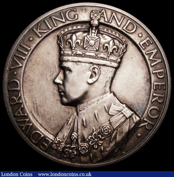Edward VIII Coronation 1937 35mm diameter in silver, Obverse: Bust left, crowned and draped, EDWARD.KING.AND.EMPEROR, Reverse a Rose, upon it, a Crown and crossed sceptres, TO COMMEMORATE THE CORONATION OF KING EDWARD VIIIMAY 12th 1937, Prooflike UNC the obverse with some light hairlines :  : Auction 164 : Lot 734