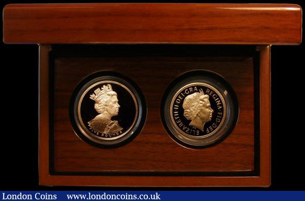 Five Pounds a 2-coin set comprising Five Pound Crown 2002 Golden Jubilee Gold Proof S.L10 and Five Pounds 2005 Gold Proof S.SE10 nFDC retaining full mint brilliance, in a Diamond Jubilee 2-coin box, no certificates : English Cased : Auction 164 : Lot 94