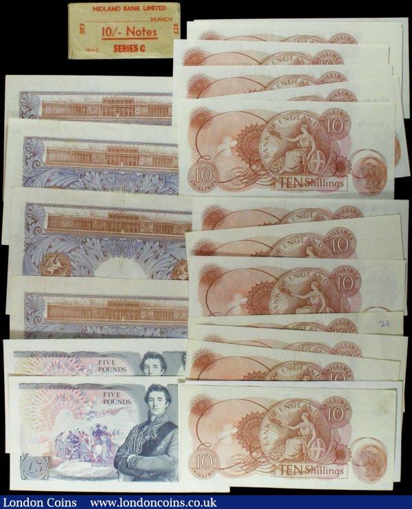Bank of England (23) small group in mixed high grades Ten Shillings to Five Pounds different cashiers includes a consecutive run of Fforde Ten Shilling notes (9) prefix A91N and Peppiatt One Pound Emergency issues (4) : English Banknotes : Auction 165 : Lot 100