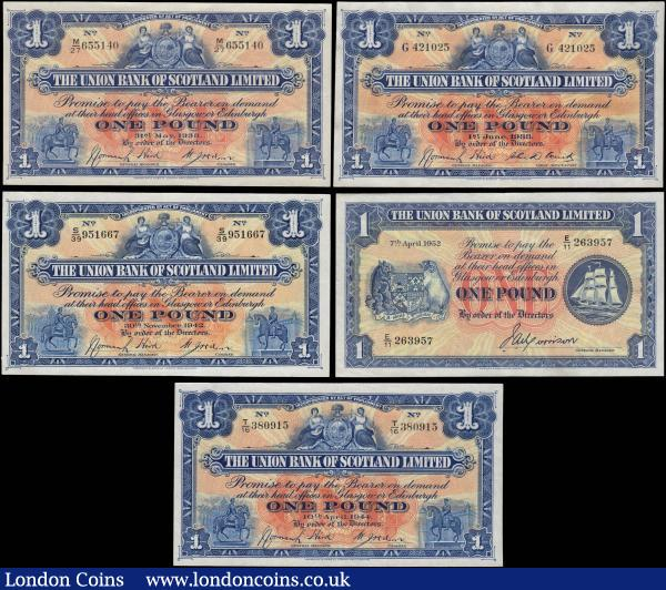 Scotland 1 Pounds The Union Bank of Scotland (5) a mixed high grade group includes about UNC comprising Callaway & Murphy UB 63c ( Pick S815b ) series G 421025. 3 notes Callaway & Murphy UB63e ( Pick S815c ) includes 31st May 1938 series M/27 655140, 30th November 1942 series S/39 951667 & 10th April 1944 series T/16 380915. Along with a later issue Callaway & Murphy UB 68a ( Pick S816a ) dated E/11 263957 signed Morrison. : World Banknotes : Auction 165 : Lot 1022