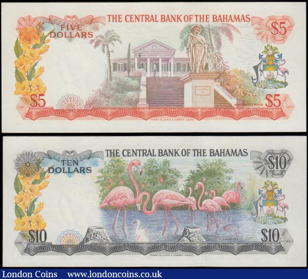 Bahamas The Central Bank of Bahamas L. 1974 issues (2) comprising 5 Dollars Pick 37b signature W.C. Allen serial number K369486, orange on multicolour young Queen Elizabeth II at left on obverse and Government House and Columbus monument on reverse. 10 Dollars Pick 38a signature T.B. Donaldson serial number J038665, dark blue on multicolour young Queen Elizabeth II at left and Flamingos on reverse. Both about UNC - UNC and Exceptionally scarce issues especially in this high grade : World Banknotes : Auction 165 : Lot 1157