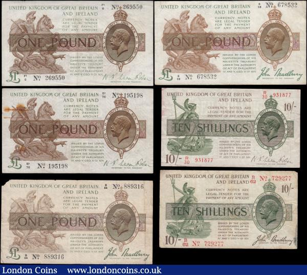 "Treasury (6) comprising Bradbury (3) Ten Shillings T20 Dash in No. Third Issue December 1918, series B62 729277, small centre holes and light staining to right, VG. One Pounds (2) T16 issued January 1917, the first being series C10 678532, good Fine with 2 pinholes at centre, and the second being series D84 889316, Good with edge nicks and missing top left corner, and Fisher (3) Ten Shillings T30 Second issue November 1922 the word ""No."" omitted, series R30 931877, good Fine with red residue mostly reverse, One Pounds(2) T31 Second Issue February 1923, the first being series B1/76 195198, VF or about with rust spots from paper clip and a minor tear near rust spot, the second being series F1/6 269550, GVF : English Banknotes : Auction 165 : Lot 12"
