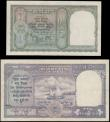 London Coins : A165 : Lot 1227 : India KGVI portrait 1943 undated issues (2) comprising 5 Rupees Pick 23a black serial number D/29 66...