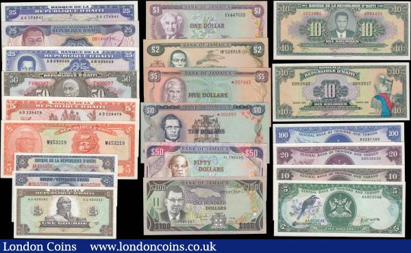South America (21) comprising Trinidad & Tobago (4) including 5 Dollars Pick 37a serial number AA903046, 10 Dollars Pick 32a serial number AN416677, 20 Dollars Pick 33a serial number BR638656 and 100 Dollars Pick 40a serial number BA281589. Jamaica (6) including 1 Dollar Pick 59b serial number EV447020, 2 Dollars Pick 60b serial number HF026518, 5 Dollars similar to Pick 56 star prefix serial number 007443, 10 Dollars similar to pick 57 star prefix serial number 001683, 50 Dollars Pick 73a serial number AL786655 and 100 Dollars Pick 74 serial number AD531207. Haiti (11) including 1 Gourde Pick 245 serial number AU420052, 2 Gourdes Pick 231A serial number M005599, 2 Gourdes Pick 240 serial number AF136202, 5 Gourdes Pick 202 serial number M453219, 5 Gourdes Pick 246 serial number AD228479, 10 Gourdes Pick 242a serial number A924491, 10 Gourdes Pick 247a serial number E092837, 25 Gourdes Pick 248 serial number AA174941, 25 Gourdes Pick 218 serial number DB740775, 25 Gourdes Pick 243a serial number AB699049 and 50 Gourdes Pick 235Ab serial number F890397. All about UNC - UNC : World Banknotes : Auction 165 : Lot 1261