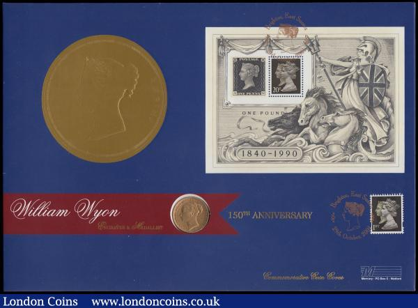 Numismatic First Day Cover - William Wyon 150th Anniversary comprising Sovereign 1884M George and the Dragon, NVF/GF and 2x First Class Stamps UNC on the envelope of issue : English Cased : Auction 165 : Lot 1590