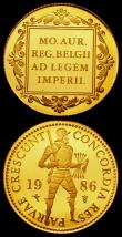 London Coins : A165 : Lot 1970 : Utrecht Fantasy Gold Ducat and Double Gold Ducat 1586 - 1986 by the Dutch Mint prooflike Unc and bot...