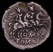 London Coins : A165 : Lot 2099 : Roman Republic, Denarius, Q Marcius Libo 148BC S.90 Obverse: Roma right, LIBO behind, Reverse: Diosc...