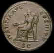 London Coins : A165 : Lot 2106 : Roman Sestertius Hadrian (117-138AD) Obverse: Bust left HADRIANVS AVGVSTVS, Reverse: Justitia seated...