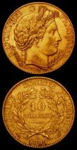 London Coins : A165 : Lot 2148 : France 10 Francs Gold (2) 1896A KM#830 NEF, 1889A KM#830 NEF