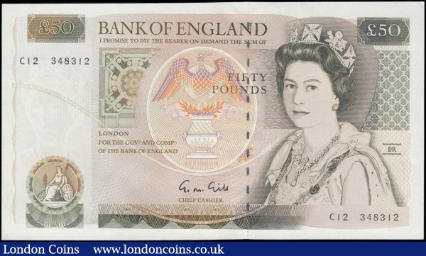Fifty pounds Gill 1988 issue B356 C12 348312 Pick381b UNC : English Banknotes : Auction 165 : Lot 246