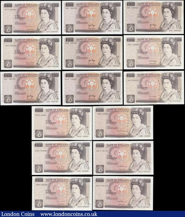 "Ten Pounds QE2 and Florence Nightingale (18) Page (5) 1975 issue B330 - first series A14 134307 about UNC - UNC with a very light counting flick at top left corner, along with 2 consecutively numbered sets of 2 - the first series K06 930032 GVF with minor dirt and K06 930033 VF with minor dirt and 2 staple holes at centre, and the second set being series N66 390782 and N66 390783 both about EF with some colour smudging. Somerset (7) 1984 issue ""L"" reverse B348 - series AY77 550000 in EF or near so, CR73 545241 about UNC - UNC and a consecutively numbered set of 4 - series BW13 792182 through BW13 792185 all EF or near, along with 1987 issue B349 series CX68 103028 GVF. Gill (4) 1988 issue B354 - series EN76 129051 GVF, EU81 743298 GEF - about UNC, JN07 254923 VF and HZ54 568960 GEF. Kentfield (2) 1991 issue ""L"" reverse B360 - first run from circulation series KN01 728484 GEF along with KR10 644061 in VF : English Banknotes : Auction 165 : Lot 251"