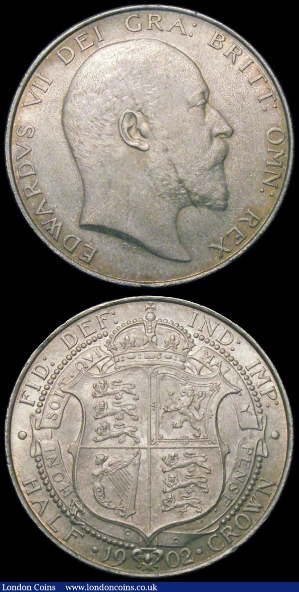 Halfcrown 1902 ESC 746, Bull 3567 GEF/AU with a small edge nick, Florin 1902 ESC 919, Bull 3577 GEF the two pieces with matching tone : English Coins : Auction 165 : Lot 2754