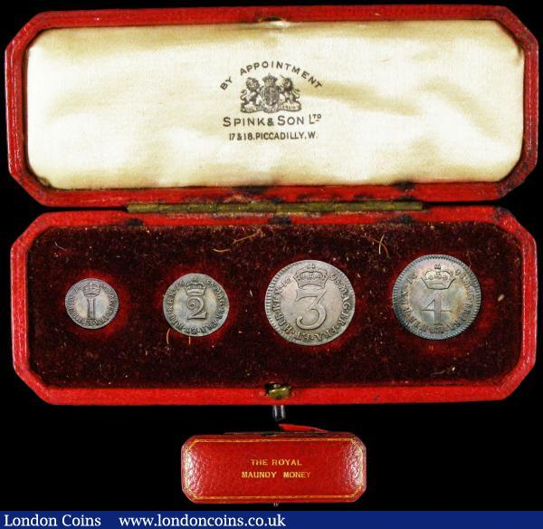 Maundy Set 1698 ESC 2389, Bull 1305 comprising Fourpence 1698 MAG, Threepence 1698, Twopence 1698 ESC 2206, Bull 1321, Penny 1698 with 9 of date partly above the crown ESC 2309, Bull 1328 Good Fine to VF, comes with a red Spink Maundy box : English Coins : Auction 165 : Lot 2784