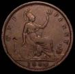 London Coins : A165 : Lot 2836 : Penny 1860 Toothed Border, LCW below foot, Freeman 14 dies 3+E, the obverse lettering with many miss...