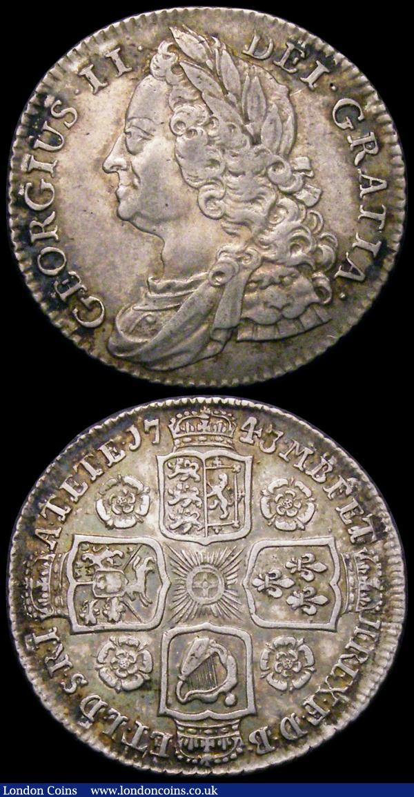 Shillings (2) 1743 Roses ESC 1203, Bull 1720 VF/NVF and nicely toned, 1745 LIMA ESC 1205, Bull 1724 NEF with some haymarking : English Coins : Auction 165 : Lot 2883