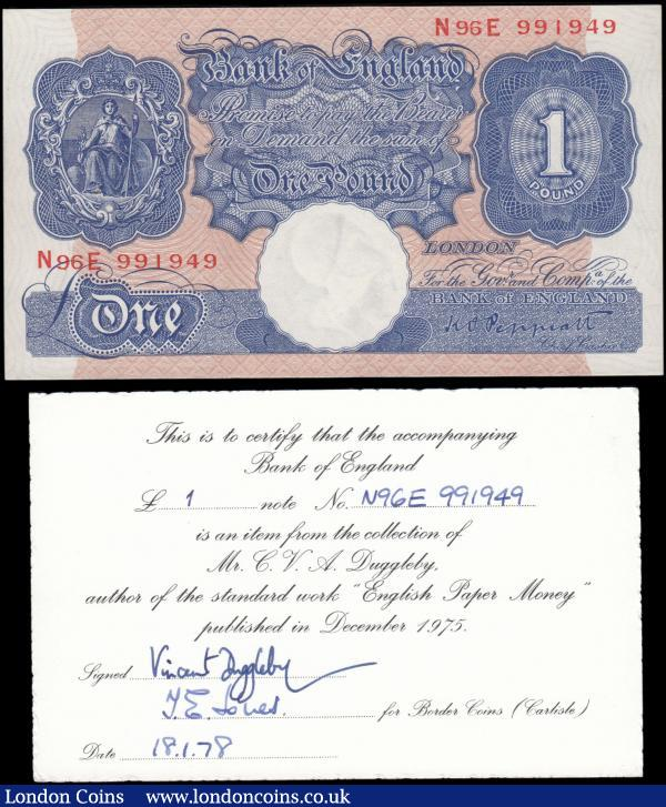 "One Pound Peppiatt Emergency issue Second Period, B249 Blue/Pink Metal Thread issue 1940, sub series N96E 991949, GEF . A note from the personal collection of Mr Charles Vincent Anstey Duggleby author of the popular ""English Paper Money"" published December 1975. Comes with a certificate signed by Mr Duggleby himself and J.E. Jones titled ""for Border Coins (Carlisle)"" dated 18.1.1978 : English Banknotes : Auction 165 : Lot 338"