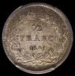 London Coins : A165 : Lot 3618 : France Half Franc 1841W Lille Mint KM#741.13, Gad 408 in a PCGS holder and graded AU55