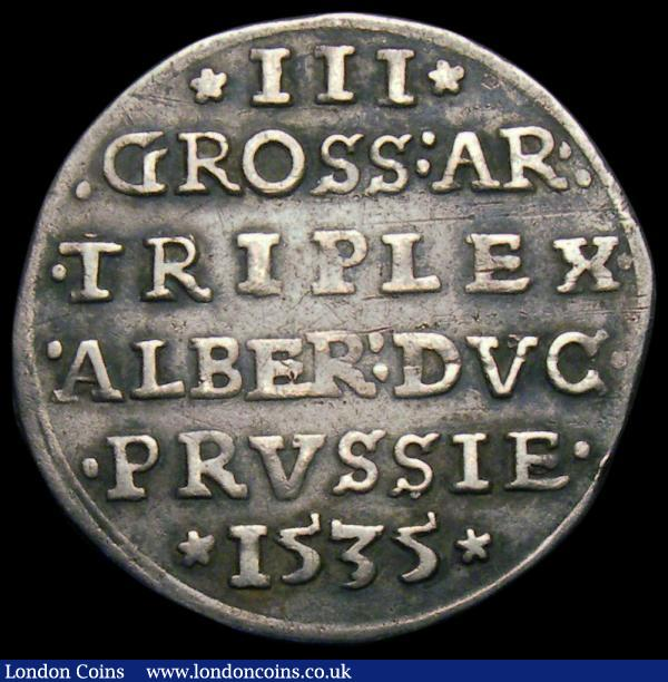 German States - Prussia 3 Groscher 1535 MB#5.2 Good Fine/Fine : World Coins : Auction 165 : Lot 3623