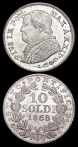 London Coins : A165 : Lot 3701 : Italian States - Papal States 10 Soldi (2) 1867R KM#1386.1 UNC with some toning and minor cabinet fr...