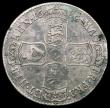 London Coins : A165 : Lot 3878 : Halfcrown 1686 SECVNDO ESC 494, Bull 749 About Fine with mottled toning and an edge bruise