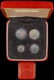 London Coins : A165 : Lot 3903 : Maundy Set 1887 ESC 2501, Bull 3544 NEF to A/UNC nicely toned, in a modern red Maundy Money box
