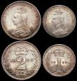 London Coins : A165 : Lot 3904 : Maundy Set 1888 ESC 2502, Bull 3545 EF to A/UNC, the Fourpence with a thin scratch on the obverse