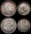 London Coins : A165 : Lot 3911 : Maundy Set 1902 ESC 2517, Bull 3607 A/UNC with a colourful and matching tone