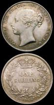 London Coins : A165 : Lot 3954 : Shillings (2) 1866 ESC 1314, Bull 3027, Die Number 31 EF the obverse with golden tone, 1888 8 over 7...