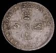 London Coins : A165 : Lot 3961 : Sixpence 1696 First Bust, Early Harp, Large Crowns ESC 1533, Bull 1202 NEF toned with some double st...