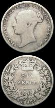 London Coins : A165 : Lot 3971 : Sixpences (2) 1848 8 over 6 ESC 1693A, Bull 3183 VG, 1862 ESC 1711, Bull 3207 NVG, both very rare