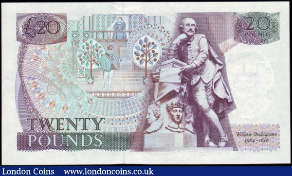 Twenty Pounds Gill QE2 Pictorial & William Shakespeare B355 issued 1988 rare LAST RUN series 20X 999862 from Debden Limited Edition set C102. UNC with very minor ridging perhaps as issued  : English Banknotes : Auction 165 : Lot 576