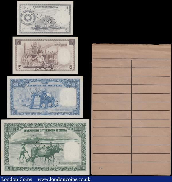 Myanmar Burma set of 5 notes 15-90 Kyats P62-66 AU//UNC