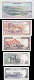 "London Coins : A165 : Lot 947 : Isle of Man (5) a denomination set, Cashen (4) and Dawson ND (1983) ""50 Pounds"" Issue, com..."