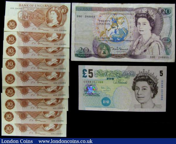 Bank of England (11) comprising a set of 9 consecutively numbered Ten Shillings QE2 & Seated Britannia B309 Fforde Red/Brown issue 1967, series from 65S 236389 to 65S 236397 all UNC. Along with Five Pounds QE2 and Elizabeth Fry B398 Bailey issue 2004 series KK68 401988 about VF and Twenty Pounds QE2 pictorial & William Shakespeare B351 Somerset Windowed thread issue 1984, series 59E 248953, Fine : English Banknotes : Auction 165 : Lot 97
