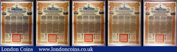 China, Chinese Government 1913 Reorganisation Gold Loan, 5 x bonds for £20, Hong Kong & Shanghai Bank issues, vignettes of Mercury and Chinese scenes, black & brown with coupons Fine to NVF some with pencil annotations and pinholes : Bonds and Shares : Auction 166 : Lot 12